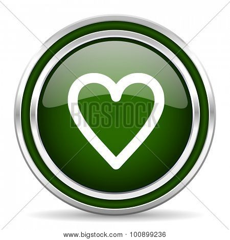 heart green glossy web icon modern design with double metallic silver border on white background with shadow for web and mobile app round internet original button for business usage