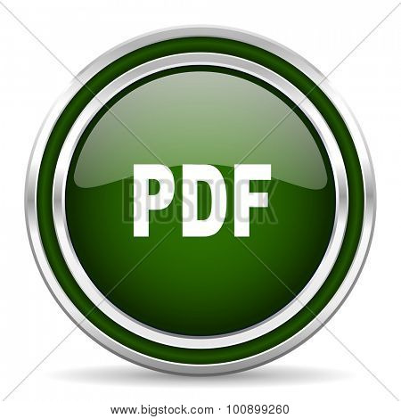 pdf green glossy web icon modern design with double metallic silver border on white background with shadow for web and mobile app round internet original button for business usage