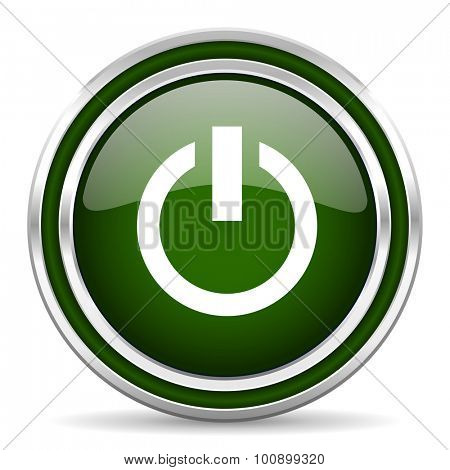 power green glossy web icon modern design with double metallic silver border on white background with shadow for web and mobile app round internet original button for business usage
