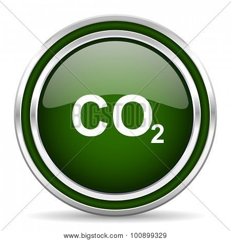 carbon dioxide green glossy web icon modern design with double metallic silver border on white background with shadow for web and mobile app round internet original button for business usage