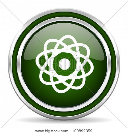 atom green glossy web icon modern design with double metallic silver border on white background with shadow for web and mobile app round internet original button for business usage