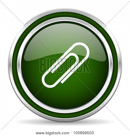 paperclip green glossy web icon modern design with double metallic silver border on white background with shadow for web and mobile app round internet original button for business usage