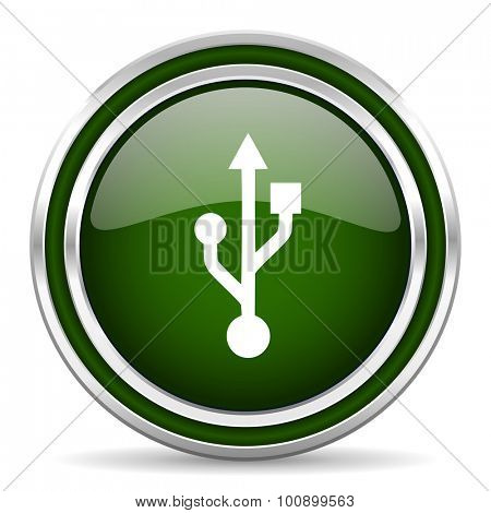 usb green glossy web icon modern design with double metallic silver border on white background with shadow for web and mobile app round internet original button for business usage