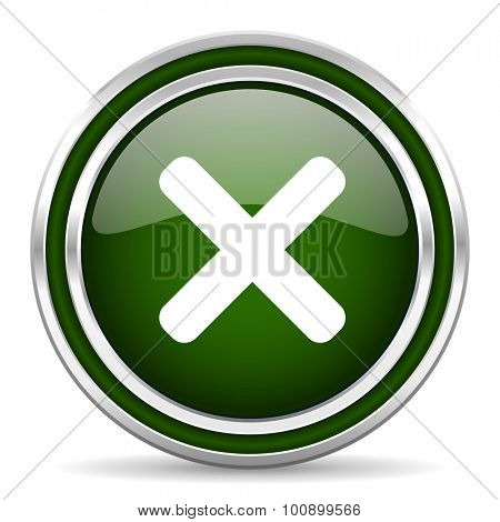 cancel green glossy web icon modern design with double metallic silver border on white background with shadow for web and mobile app round internet original button for business usage