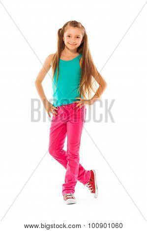 Happy winking school age girl portrait