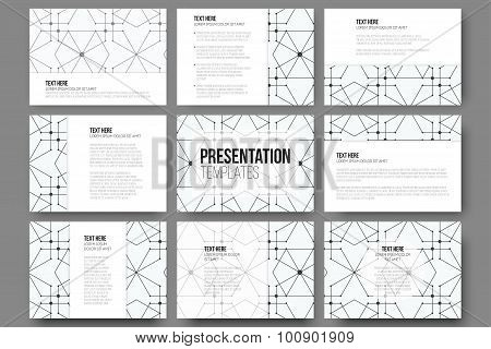 Set of 9 templates for presentation slides. Modern stylish geometric backgrounds with hexagons and n