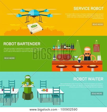 Robots  design concept set with service robot