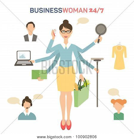 Businesswoman with many hands multitasking