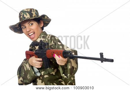 Woman with sniper weapong isolated on white