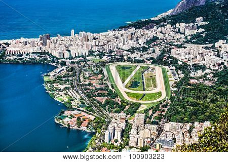 Panoramic view of the race track of Lagoa and Leblon in Rio de Janeiro, Brazil.