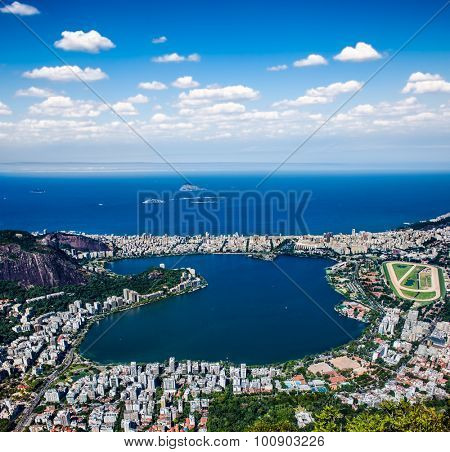 Panoramic view of the Ipanema , Lagoa and Leblon in Rio de Janeiro, Brazil.