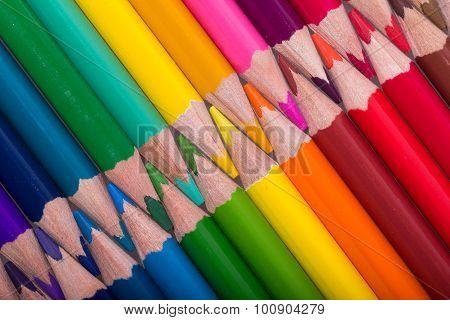 Color pencils background. close up of pencil color
