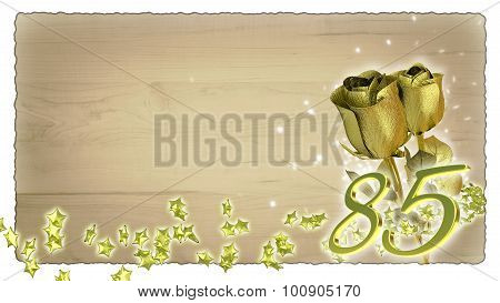 birthday concept with golden roses and star particles - 85th