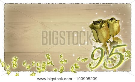 birthday concept with golden roses and star particles - 95th