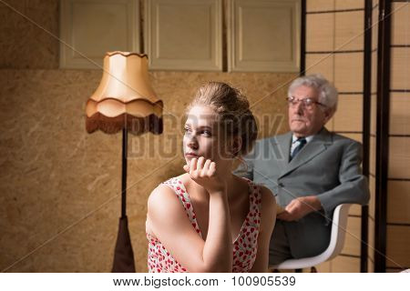 Woman Sitting Back During Psychotherapy