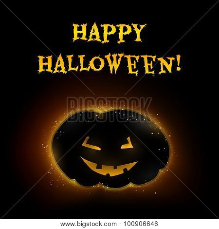 Vector Halloween card pumpkin in backlight with glowing eyes and mouth and highlights