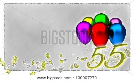 birthday concept with colorful baloons - 55th