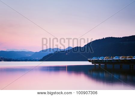 Quiet Mountain Lake By Sunset
