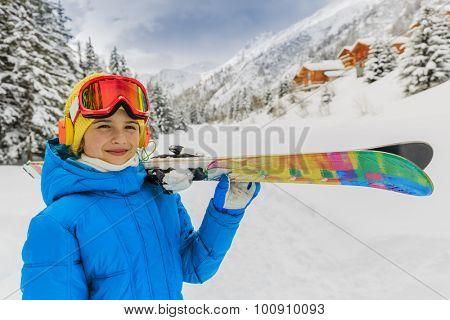 Ski, winter vacation, snow, skier girl enjoying ski vacations