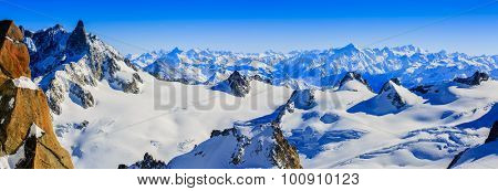 Mont Blanc, view from Aiguille du Midi, panorama