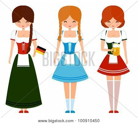 German girls in traditional bavarian dress with beer and flag. Oktoberfest cute vector character ill