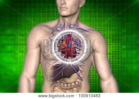 conceptual vision health heartache a person 3d image