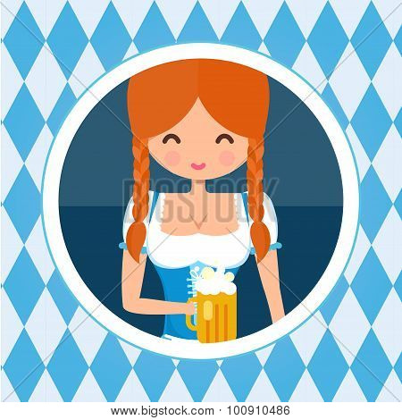 German girl circle avatar portrait. Blonde girl in traditional dress with beer. Flat octoberfest cha