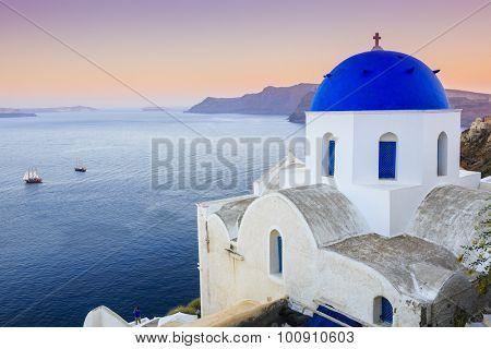 Santorini, Greece - Oia village at sunset