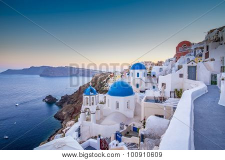 Santorini, Greece - Oia village at sunset