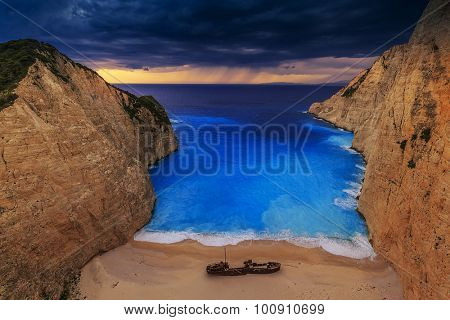 Shipwreck bay, Navagio - Zakynthos, Greece - The world famous, amazing beach, sunset