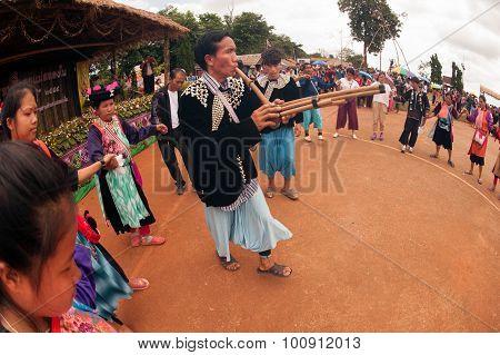Lisu Hill Tribe Traditional Dancing In Thailand.