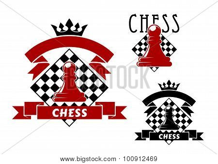 Chess game icons with pawn and chessboard