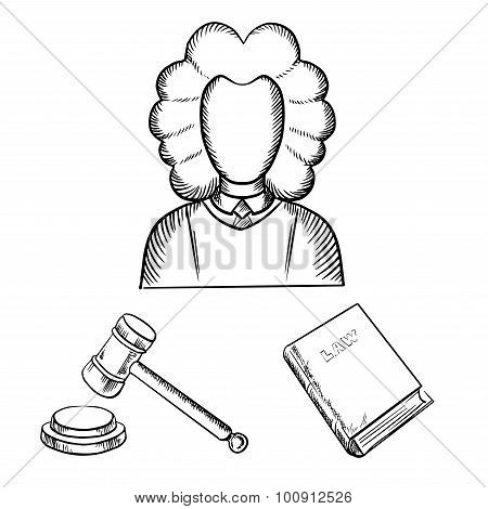 Judge, gavel and law book sketches