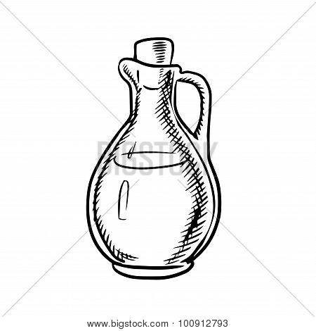 Olive oil bottle sketch with handle and cork