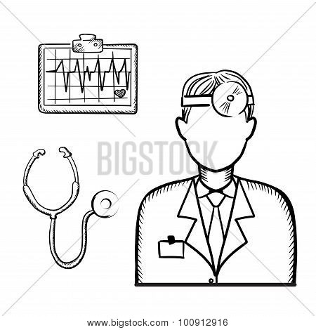 Doctor with stethoscope and cardiogram