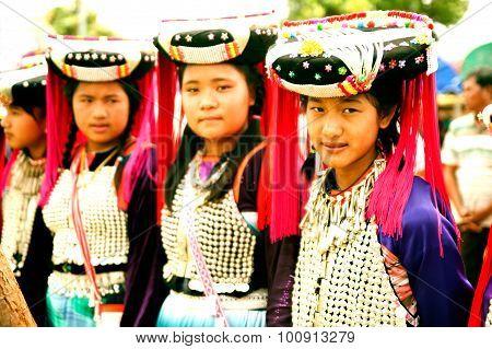 Portrait Of Mein Minority Hill Tribe In Thailand.