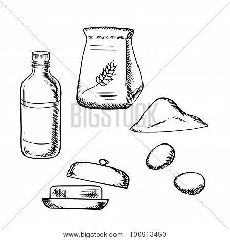 Flour, fresh eggs, milk and butter