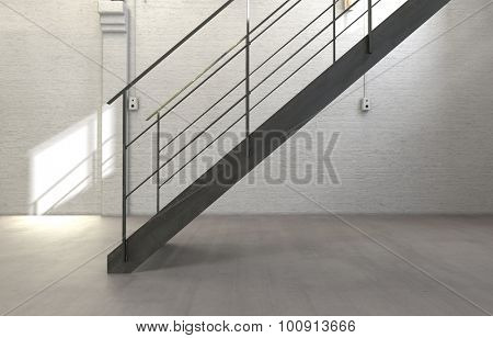 Architectural Interior of Sparse Stairwell with Simple Staircase and Empty Room with White Walls. 3d Rendering.
