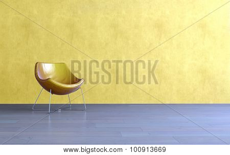 3d render of a simple modern yellow tub chair in a living room with a matching textured yellow wall with empty space for interior decorating or copyspace. 3d Rendering.