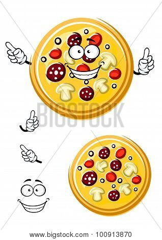 Cartoon italian pizza with ingredients