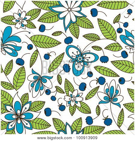 Blueberry seamless pattern with flowers