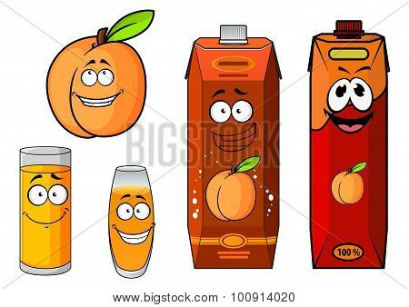 Apricot fruit, juice packs and glasses