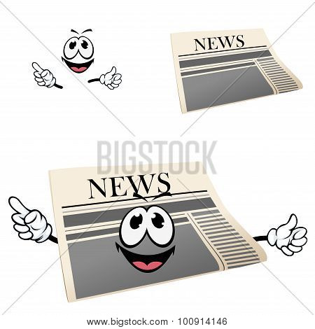 Funny cartoon isolated newspaper character