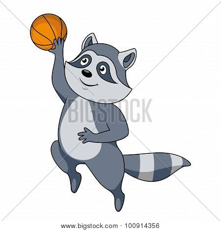 Cartoon raccoon player with ball