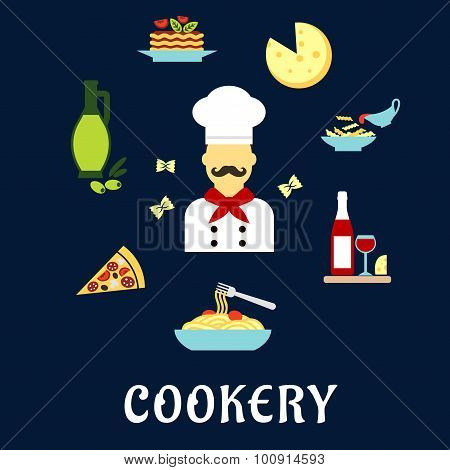 Italian cuisine flat icons with chef and dishes