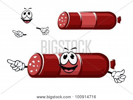 Cartoon beef sausage in red casing