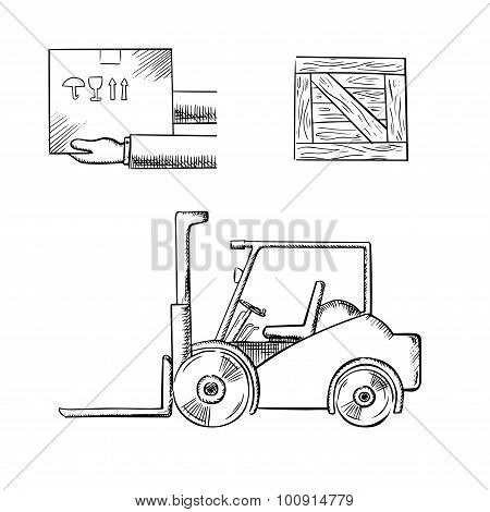 Delivery box, crate and forklift truck