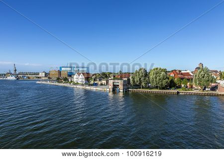 View At River Peene To Dockyard Area In Wolgast.