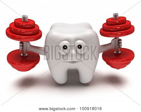 Tooth With Face Lifts Weights