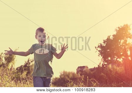 Happy Smiling Child Running To His Mom